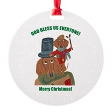 Dachshund Tiny Tim Ornament
