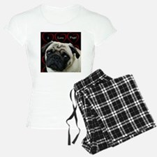 Cute I Love Pugs Pajamas