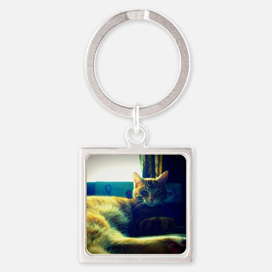 Sleepy Orange Kitty Square Keychain
