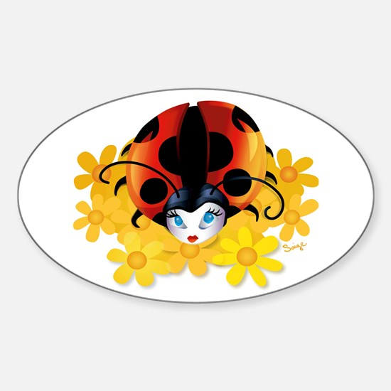 Pretty Ladybug Oval Bumper Stickers