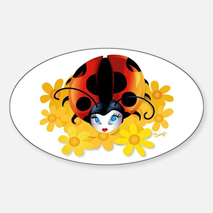 Pretty Ladybug Oval Decal