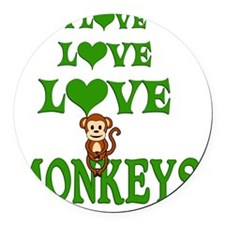 Love Love Monkeys Round Car Magnet