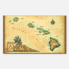 Hawaii map Sticker (Rectangle)
