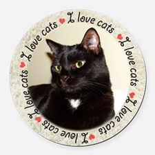 I Love Cats Round Car Magnet