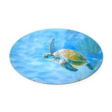 Underwater turtle Oval Car Magnet