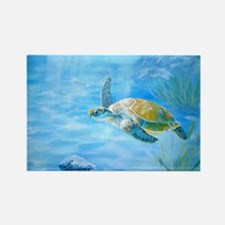 Underwater turtle Rectangle Magnet