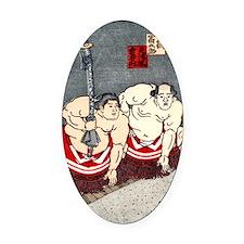 Vintage 1978 Japan Sumo Wrestlers  Oval Car Magnet