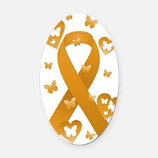 Orange Awareness Ribbon Oval Car Magnet