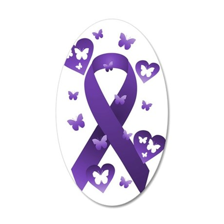 Purple Awareness Ribbon 35x21 Oval Wall Decal