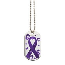 Purple Awareness Ribbon Dog Tags