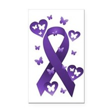 Purple Awareness Ribbon Rectangle Car Magnet