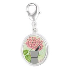 pest and mort hydrangea 2 Silver Oval Charm
