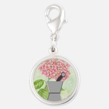 pest and mort hydrangea 2 Silver Round Charm