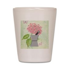 pest and mort hydrangea 2 Shot Glass