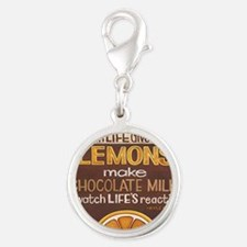 When Life gives you lemons... Silver Round Charm