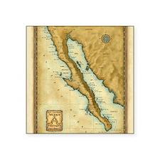 "Baja Map Square Sticker 3"" x 3"""