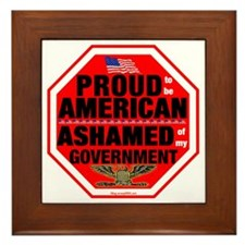 Proud to be American, but ... Framed Tile