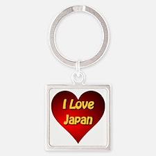 I Love Japan Square Keychain