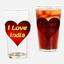 I Love India Drinking Glass
