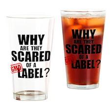 GMO Scared (Black) Drinking Glass