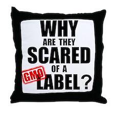 GMO Scared (Black) Throw Pillow