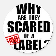 GMO Scared (Black) Round Car Magnet