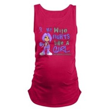 D Wife Fights Like Girl H Lymph Maternity Tank Top