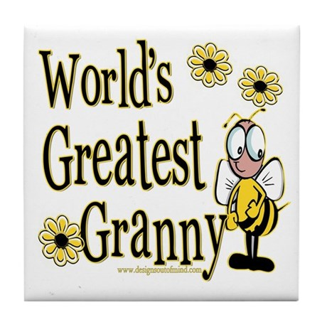 Granny Bumble Bee Tile Coaster