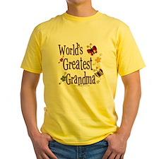 Grandma Butterflies Yellow T-Shirt