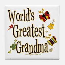 Grandma Butterflies Tile Coaster