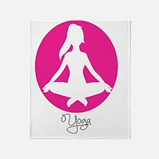 yoga 22 pink white Throw Blanket