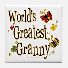 Granny Butterflies Tile Coaster