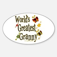 Granny Butterflies Oval Decal