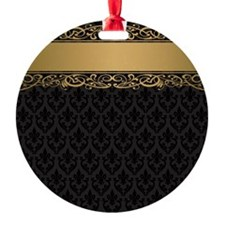 Golden Stripe Vintage Damask Ornament