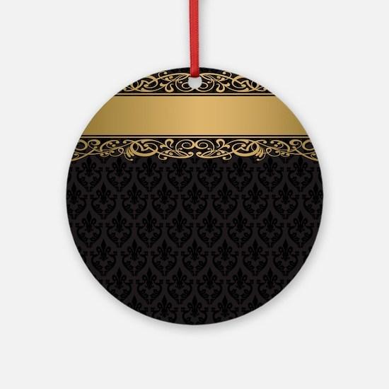 Golden Stripe Vintage Damask Round Ornament