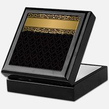 Golden Stripe Vintage Damask Keepsake Box