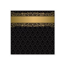 "Golden Stripe Vintage Damas Square Sticker 3"" x 3"""