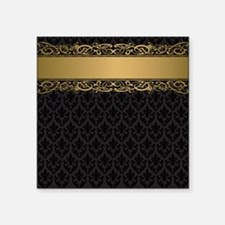"Golden Stripe Vintage Damas Square Sticker 3"" x 3"""