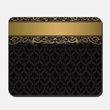 Golden Stripe Vintage Damask Mousepad