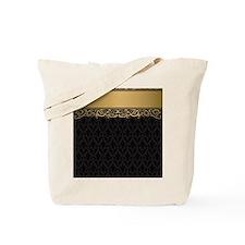 Golden Stripe Vintage Damask Tote Bag