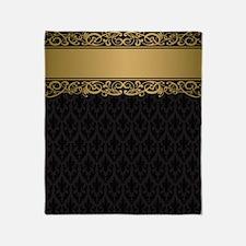 Golden Stripe Vintage Damask Throw Blanket
