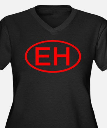 EH Oval (Red) Women's Plus Size V-Neck Dark T-Shir