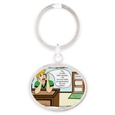 A Touch of Humor Chair Massage Comic Oval Keychain