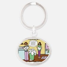 A Touch of Humor Massage Laundry Com Oval Keychain