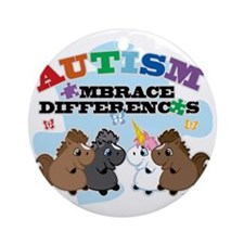 Autism Embrace Differences Round Ornament
