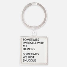 Wrestle With My Demons Square Keychain