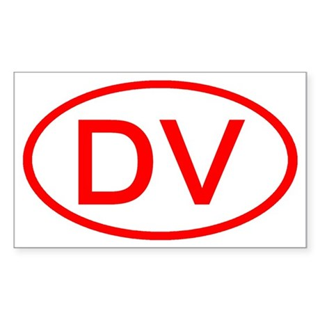 DV Oval (Red) Rectangle Sticker