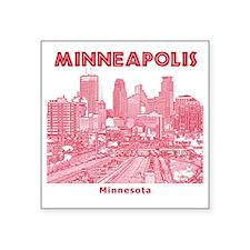 "Minneaplis_12X12_Downtown_R Square Sticker 3"" x 3"""