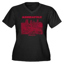 Minneaplis_1 Women's Plus Size Dark V-Neck T-Shirt