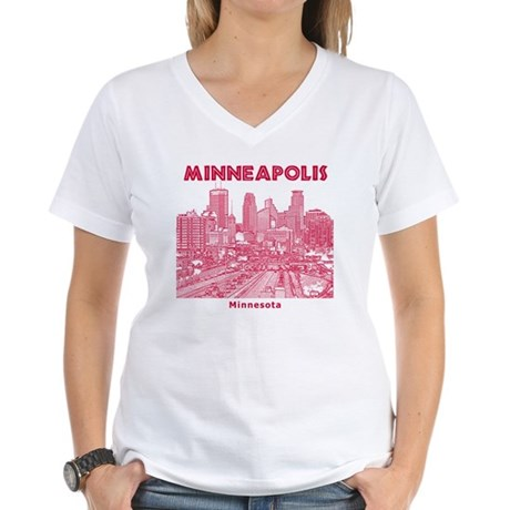 Minneaplis_12X12_Downtown_R Women's V-Neck T-Shirt